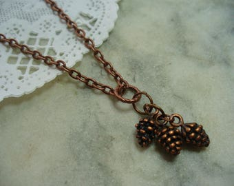 Antique Copper Small Pine Cone Charm Necklace, Affordable Pine Cone Necklace, Three Pine Cones, Fashion Jewelry, Womens Jewelry