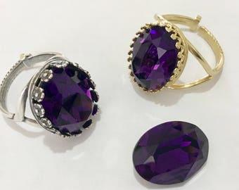 Purple Velvet Antique Silver plated or Gold Brass Finger Ring Adjustable Cocktail w/ Swarovski Vintage Crystal Rhinestone gem Ladies Gift