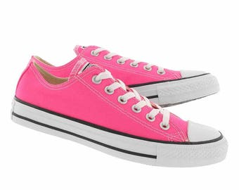 Custom Low Top Pink Converse Bright Rose w/ Swarovski Crystal Rhinestone Bling Bridal Wedding Chuck Taylor All Star Trainers Sneaker Shoe
