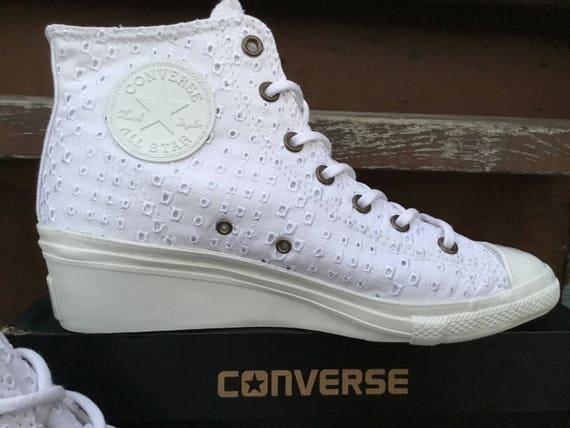 Custom Ladies White Converse Hi Ness Rise Lux Wedge Heel w/ Swarovski Rhinestone Crystal Bling Chuck Taylor All Star Trainer Sneaker Shoes