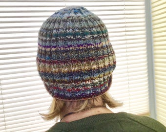 Hand Knit Unisex Ribbed Beanie Hat or Skull Cap made from All Sorts of Yarn and All Colours