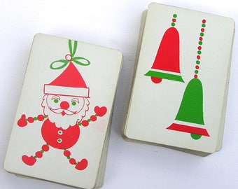 Vintage Santa Claus & Christmas Bells Playing Cards . double deck . Arrco Playing Card Co . Made in USA