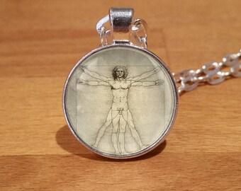 Vitruvian Man Necklace, Vitruvian Man Pendant, Vitruvian Man, leonardo da vinci, Silver Plated necklace (2s)
