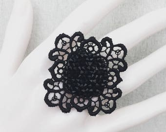 Lace and Swarovski Crystal ring
