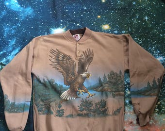 Vintage Mohican Resort American Bald Eagle Nature Print Thick Long Sleeve Front and Back 1/4 Button Sweatshirt