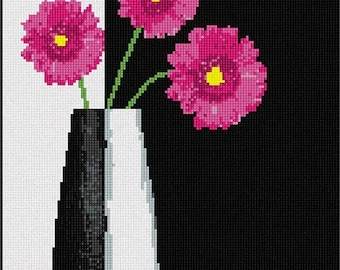 Needlepoint Kit or Canvas: Modern Vase Pink Flowers