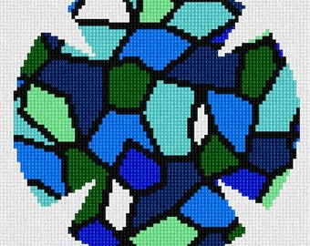 Needlepoint Kit or Canvas: Yarmulka Stained Glass Greens