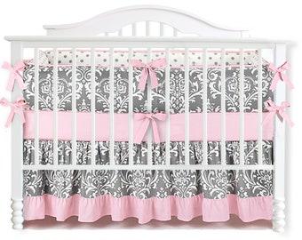 Grey & Pink Ruffle Damask Crib Bedding Set. Nursery Bedding. Baby Bumpers. Crib Sheet . Baby Crib Bedding