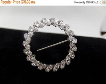 ON SALE KREMENTZ Signed Vintage Marquise Crystal Circle Brooch
