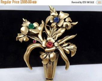 ON SALE JOSEFF of Hollywood Signed Vintage Glass Cabochon Floral Bouquet Brooch