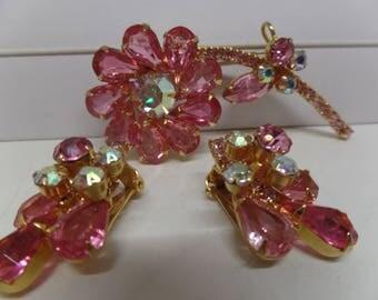 JULIANA Pink Aurora Borealis Crystal Floral Brooch Set