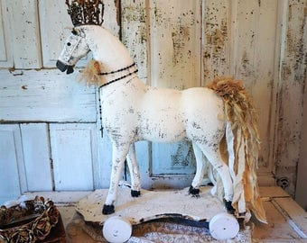 White French horse statue on wheels lg reclaimed antique hand painted w/ ornate crown tattered muslin tail home decor anita spero design