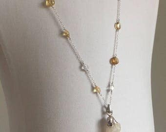 ONE OF A KIND citrine and crystal quartz heart chakra necklace