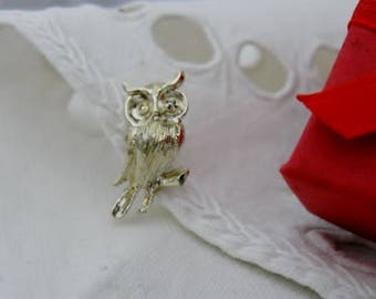 Owl Brooch Owl sitting on a tree branch Pin with Gold Rhinestone Eyes Gold tone finish
