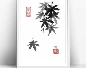 "Print ""Leaf's dance"" in Traditional Japanese Art Style, Black and White, Painted in Sumi-e style, Great Minimal, Asian Art Design"