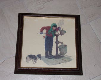 Vintage Norman Rockwell  Art Print. Cold Winter Print . Boy getting water from the Well Print. called Winter.Turner Wall Art Accessory.