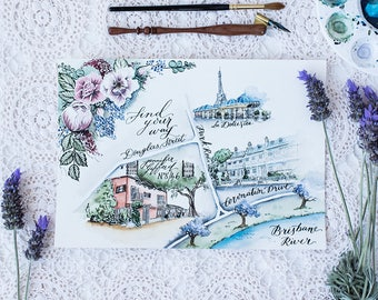 Watercolour Wedding map   I    Watercolor wedding location map    I    modern calligraphy