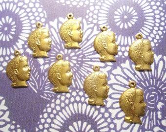 8 Brass 3d Girl Head Charms