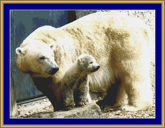 Polar Bear And Cub Cross Stitch Pattern /Digital PDF Files /Instant downloadable