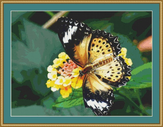 Exotic Butterfly Cross Stitch Pattern /Digital PDF Files /Instant downloadable