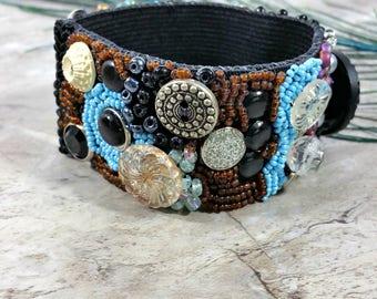 Boho Beaded Cuff Bracelet, Abstract Beadwork Bracelet, Steampunk Beaded Cuff, Bead Embroidery Cuff, Steampunk Fashion Jewelry