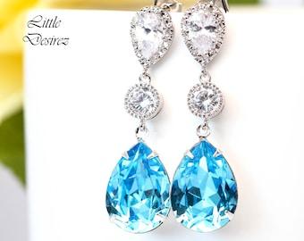 Aquamarine Earrings Aqua Blue Earrings Something Blue ideas Bridal Earrings Bridesmaid Earrings Gift for Her CZ Earrings Swarovski AQ31PC