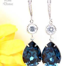 Blue Navy Earrings Bridesmaid Earrings Navy Blue Bridal Earrings Navy Blue Earrings Navy Blue Dangle Earrings Long Earrings Navy MO31HC