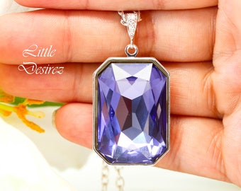 Purple Necklace Swarovski Tanzanite Necklace Large Pendant Lilac Necklace Lavender Necklace Sparkly Octagon Crystal Emerald Cut Stone TZ41