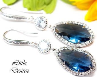 Navy Blue Earrings Montana Blue Bridal Earrings Cubic Zirconia Earring Bridesmaid Gift Sparkly Dark Blue Earring Wedding Jewelry MO40HC
