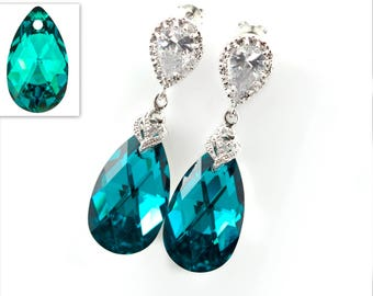 Teal Swarovski Teardrop Earrings Blue Zircon Comet Argent Light Crystal Swarovski Elements Teal Earrings Cubic Zirconia Hypoallergenic BZ32P