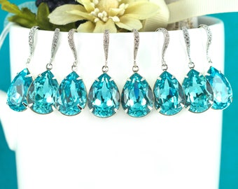 SALE Set of 4 5 6 7 8 pairs Bridal Party Discount Bridesmaid Gift Bridesmaid Earrings Blue Earrings Blue Jewelry Swarovski Earrings TQ31H