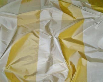 STROHEIM & ROMANN BONITA Stripes Silk Taffeta Fabric 10 Yards Gold Cream