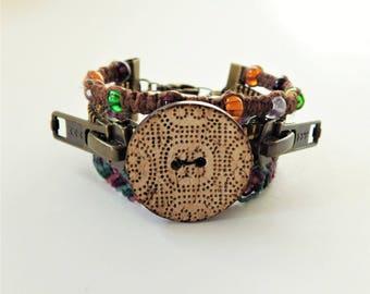 Steampunk Coconut Shell Button Surfer Bracelet