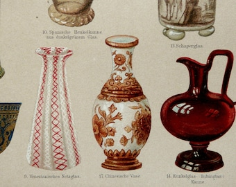 1897 Antique fine lithograph of ANTIQUE GLASSWARE. Pottery. 120 years old nice print.