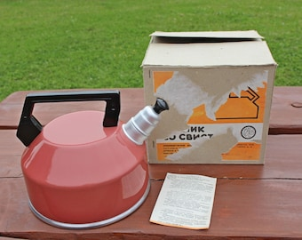 Soviet vintage UNUSED whistling kettle Aluminium tea kettle Kettle with whistle Whistleing tea kettle Red tea kettle