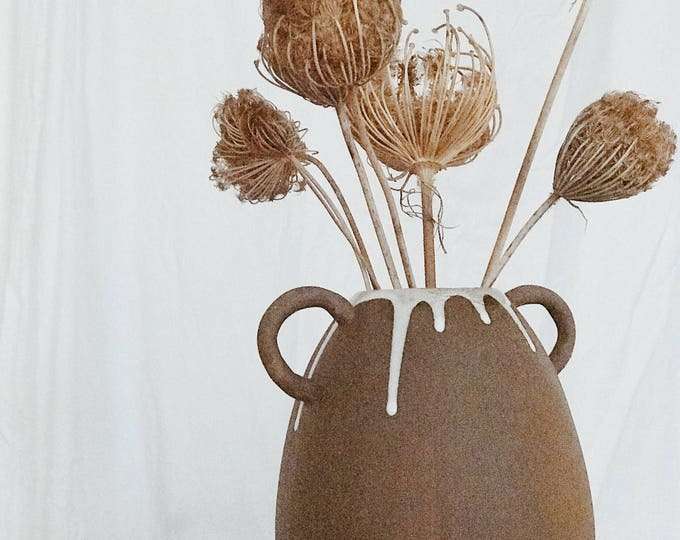 Featured listing image: Handle Pod Vase Stoneware MADE TO ORDER