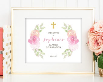 Printable Christening Baptism Welcome Sign (Ch46)