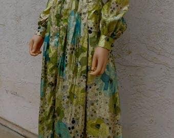 Vintage 1970s Julius Garfinckel Silk Brocade Evening Dress Gown S M England Rare