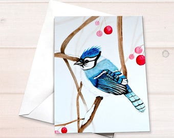 Bluejay notecard, Christmas card, bird lover notecard, Blue Jay card, gardener notecard, watercolor bluejay, watercolor bird