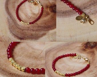 Gold accent, Garnet Bracelet, Gemstone, Delicate Charm Bracelet, Elephant