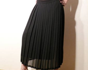 SALE Vintage Accordion Skirt / Gerard Pasquier Skirt / Black Long Skirt / Made in France Size 40