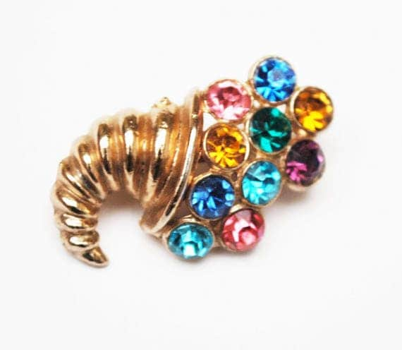 Cornucopia Brooch - Multi Color Rhinestone - Gold Tone Vintage  Jewelry
