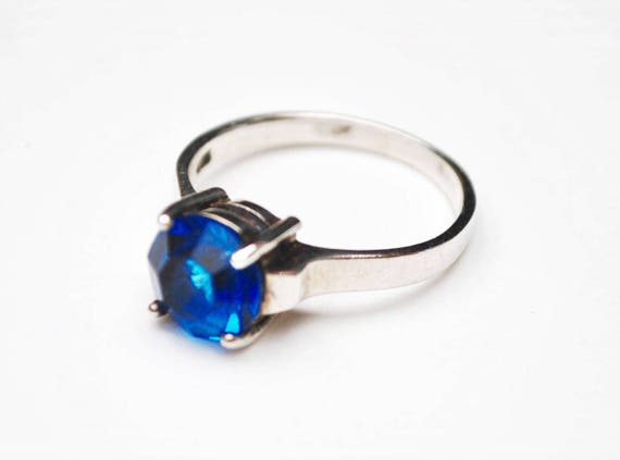 Blue Glass Sterling ring - Sapphire art glass - Size 8 - Silver statement ring