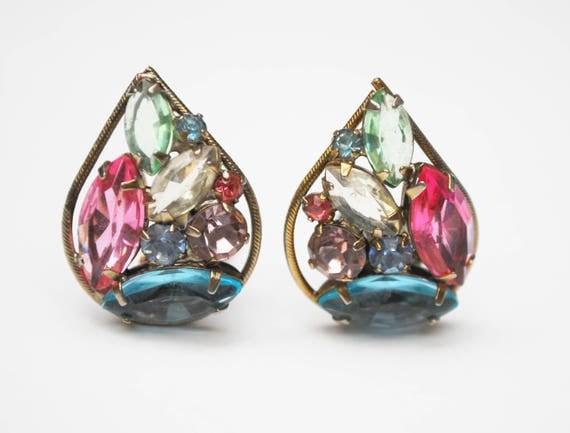 Weiss Rhinestone Earrings -Tear drop - Colorful Crystal - pink blue green  - clip on earrings - gold tone metal