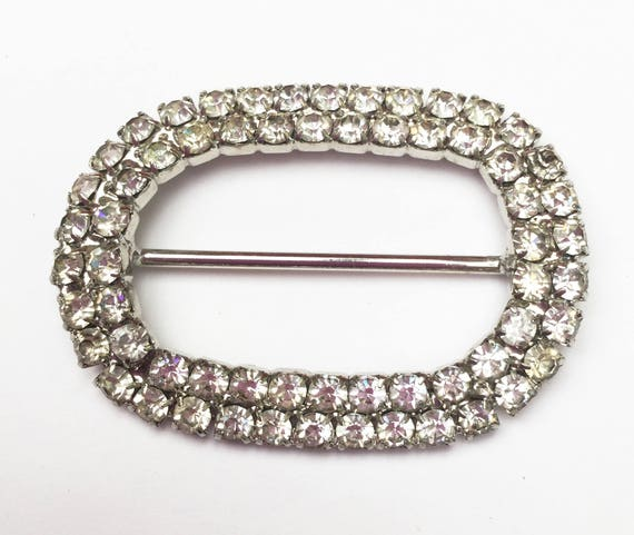 Rhinestone belt buckle - silver metal - scarf ring - Clear Crystal - oval