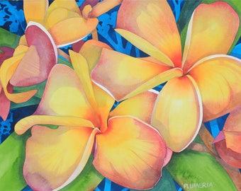 Hawaii.....Art Original Watercolor Painting of a Giant Hawaiian YELLOW PLUMERIAS