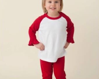 SALE Ready To Ship size 6 Red Ruffle Girls Pants Perfect for Valentines Christmas Cute Matches Applique Shirts