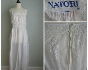 Summer Clearout 1980's Natori White Cotton Nightgown//
