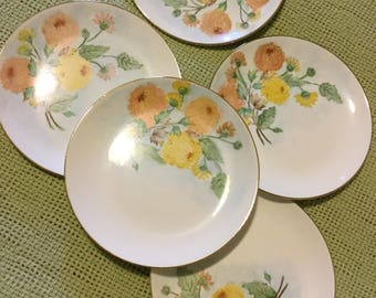"Set of Five 8"" Cake Plates-Handpainted Yellow/Orange/Green Leaves & Flowers-Signed-Tuck"