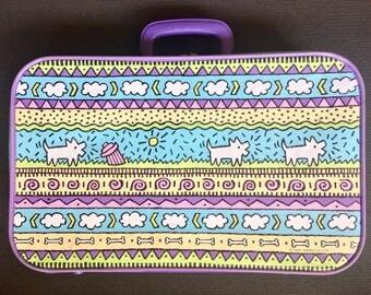 Original Vintage 1990 Sanrio Suitcase Travel Luggage Bag Lavendar Rare Gem